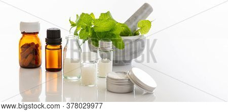 Spearmint Herb And Mortar And Pestle Isolated On White Background