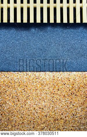 The Surface Texture On The Joint Of The Different Non Slip Flooring And The Plastic Gutter Cover Bes