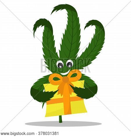 Vector Illustration Of A Hemp Sticker With A Gift. A Picture Of A Hemp With A Gift