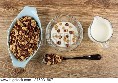 Blue Bowl With Cereal, Cereal Grains Breakfast With Chocolate And Caramel In Glass Bowl With Yogurt,