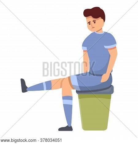 Soccer Player Need Doctor Help Icon. Cartoon Of Soccer Player Need Doctor Help Vector Icon For Web D