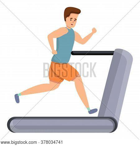 Sportsman Run On Treadmill Icon. Cartoon Of Sportsman Run On Treadmill Vector Icon For Web Design Is