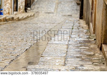 Detail Of An Ancient Sicilian Stone Road