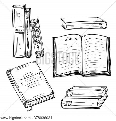 Collection Of Books. Hardcover Books In A Stack, Open Book, Top View Book In Sketch Style. Textbooks