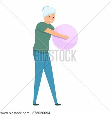 Senior Woman With Fitness Ball Icon. Cartoon Of Senior Woman With Fitness Ball Vector Icon For Web D