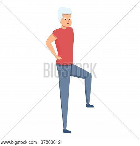Senior Man Morning Exercise Icon. Cartoon Of Senior Man Morning Exercise Vector Icon For Web Design