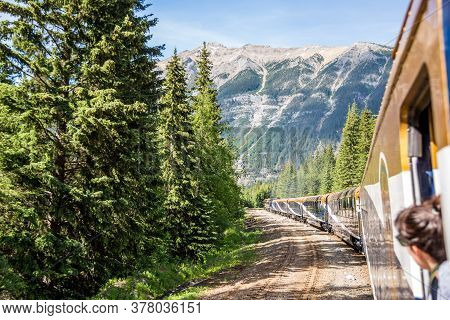 Vancouver, British Columbia / Canada - 06/17/2015 Rocky Mountaineer Train Traveling Through The Rock