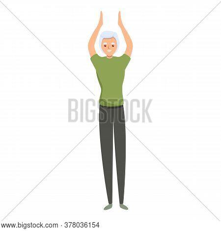 Senior Woman Morning Exercise Icon. Cartoon Of Senior Woman Morning Exercise Vector Icon For Web Des