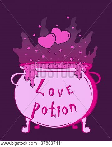 Magic Cauldron With Love Potion And Hearts. Cute Pink Halloween Sticker For Your Design, Banner, Cov
