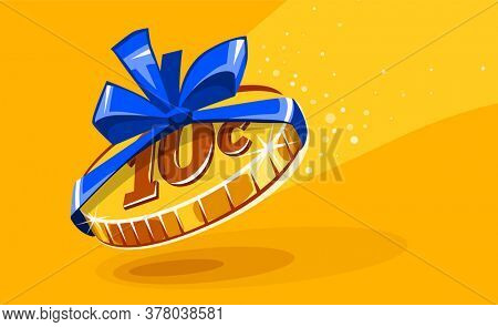 10 cents coin in gift wrapping with bow blue ribbon. Creative concept of inadequate assessments of work costs. Unfair business and exploitation for small earnings. Work for food, . Illustration.