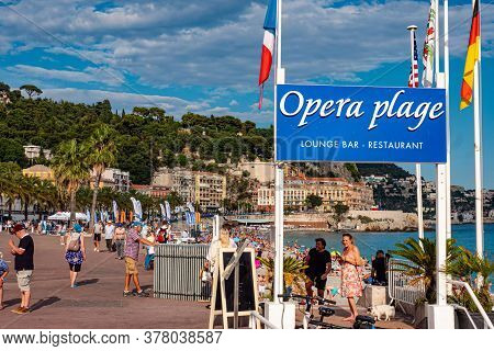 Famous Opera Beach In Nice At The Cote D Azur - Nice, France - July 10, 2020