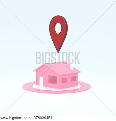 3d House With Navigator Pin Locator. Navigation, Location Route, Sale Concept. Gps Pointer. Abstract