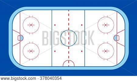 Ice Hockey Field With Puck And Stick On Isolated Blue Background. Winter Sport On Ice. Stadium With