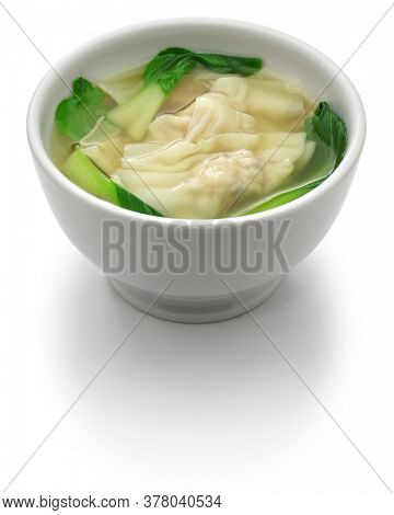 homemade wonton soup with bok choy: a kind of chinese dumpling isolated on white background
