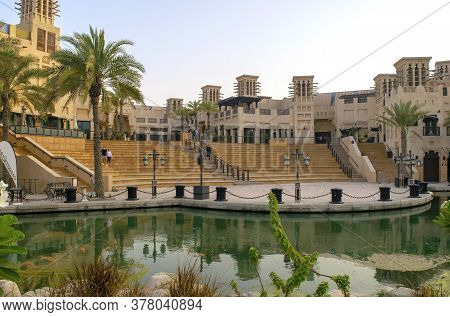 Dubai / Uae - July 3, 2020: Beautiful View Of Empty Souk Madinat Jumeirah During Sunset. Old And New
