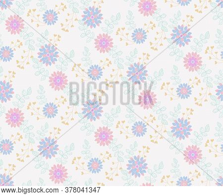 Trendy Seamless Floral Pattern With Leaves, Flowers And Floral Elements. Small Colorful Multicolor F