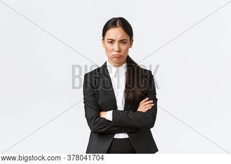 Insulted Silly Pouting Saleswoman Feeling Angry At Coworker, Cross Arms And Sulking Mad, Frowning Di