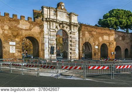 Porta San Giovanni Is A Gate In The Aurelian Wall Of Rome, Italy