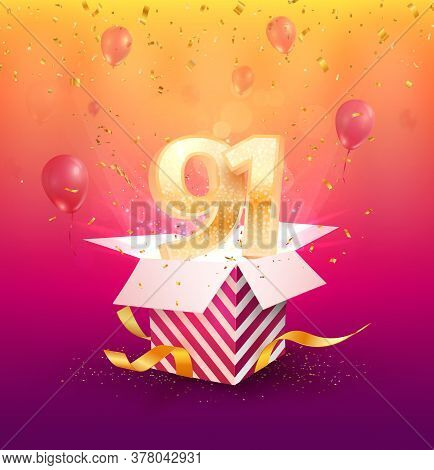 91st Years Anniversary Vector Design Element. Isolated Ninety-one Years Jubilee With Gift Box, Ballo