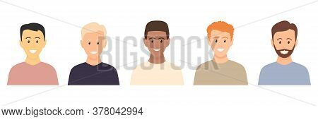 Multicultural Happy Young Men. People Various Races. Male Caucasian, European, African, Asian People