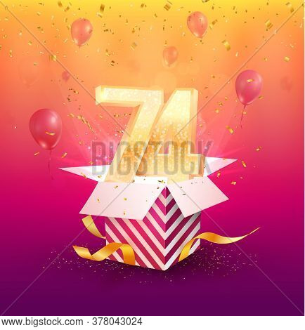 74th Years Anniversary Vector Design Element. Isolated Seventy-four Years Jubilee With Gift Box, Bal