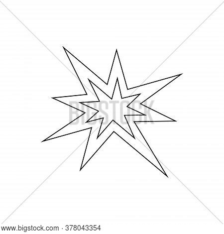 Boom Fire Line Icon Isolated On White. Black Bursting Vector Illustration.