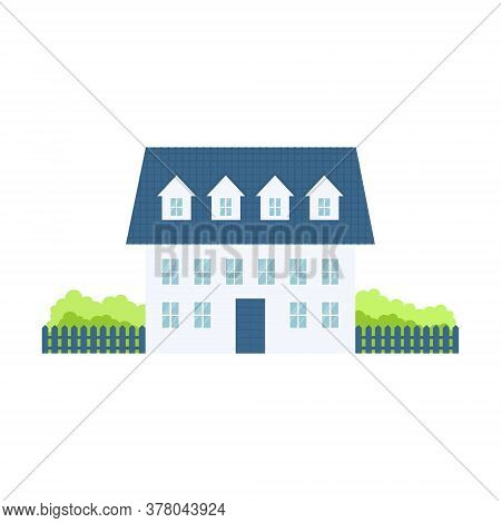 Luxury Country House With Trees. Cute Modern Cottage On Nature. Vector Illustration Isolated On Whit