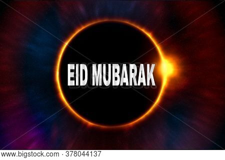 Glowing Moon In Darkness Designed For Wishing Eid Mubarak