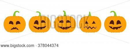 Set Of Halloween Pumpkins With Emoji Vector Illustration Isolated On White. Cute Pumpkins Collection