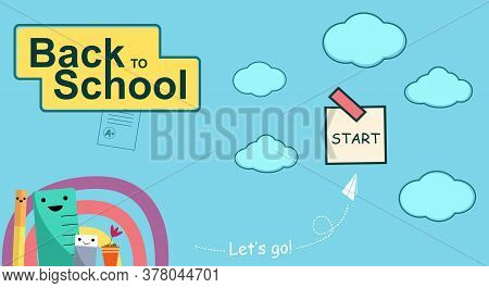 Funny Characters For Home Schooling Banner, Online Education. Web Page Design Template For Elementar