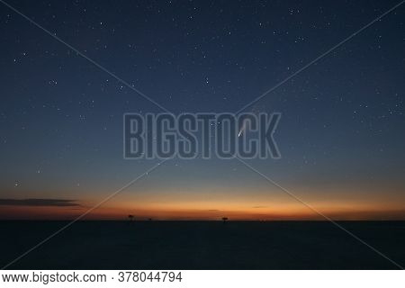 Night Starry Sky And Comet Neowise. Summer Starry Night. Beautiful Night Landscape.