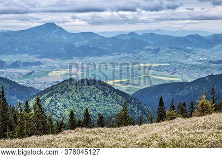 Big Choc, Ruzomberok And Fields From Salatin Hill, Low Tatras, Slovak Republic. Travel Destination.