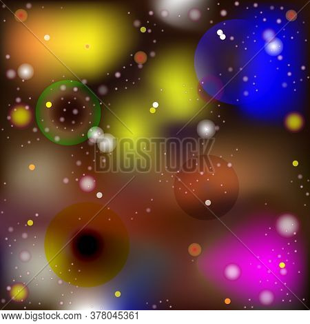 Vector Abstract Image In The Style Of Macro And Microworld. Luminous Spheres And Balls Moving In Spa