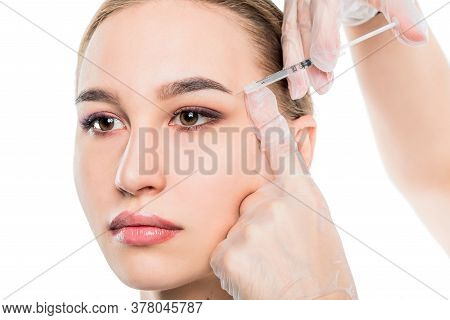Closeup Beautician Hands Doing Facial Skin Lifting Injection To Womans Face On Isolated White Backgr