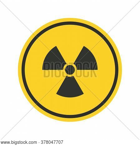 Radiation Hazard Sign. Symbol Of Radioactive Threat Alert In A Black Frame On Yellow Background.