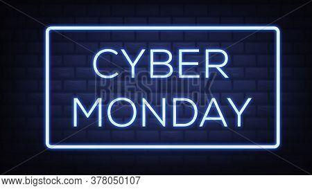 Cyber Monday Sale Neon Banner Design. Cyber Monday Big Discounts Neon Logo, Light Banner Design Elem