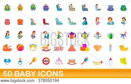 50 Baby Icons Set. Cartoon Illustration Of 50 Baby Icons Vector Set Isolated On White Background