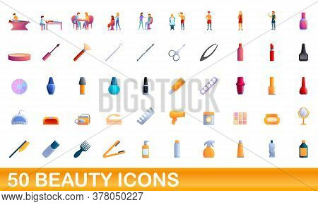 50 Beauty Icons Set. Cartoon Illustration Of 50 Beauty Icons Vector Set Isolated On White Background