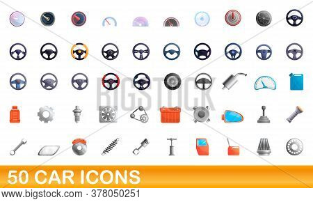 50 Car Icons Set. Cartoon Illustration Of 50 Car Icons Vector Set Isolated On White Background