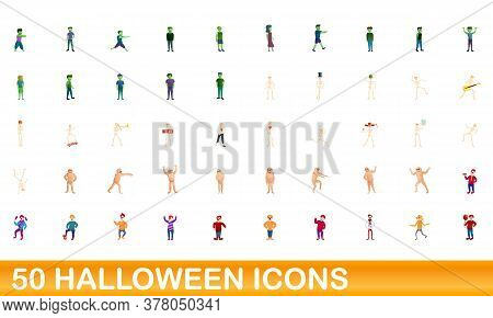 50 Halloween Icons Set. Cartoon Illustration Of 50 Halloween Icons Vector Set Isolated On White Back