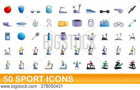 50 Sport Icons Set. Cartoon Illustration Of 50 Sport Icons Vector Set Isolated On White Background