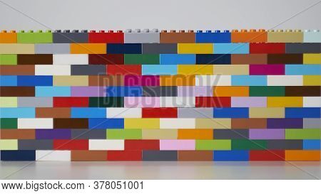 Plastic Building Block. Plastic Brick Wall. Wall From Plastic Building Blocks Isolated. Suitable For