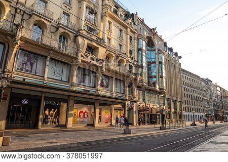Rue De La Croix D Or In Geneva In Switzerland - City Of Geneva, Switzerland - July 8, 2020