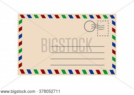 Postcard Isolated On White Background. Envelope With Color Stripe. Vintage Template. Realistic Old R