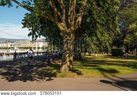 English Garden In Geneva At Lake Geneva In Switzerland - City Of Geneva, Switzerland - July 8, 2020