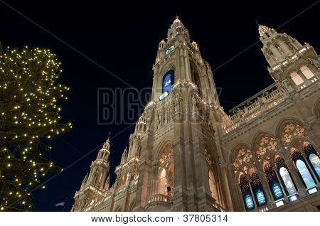 Town Hall during Christmas in Vienna, Austria