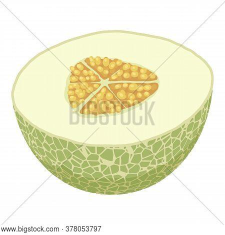 Half Fresh Melon Icon. Isometric Of Half Fresh Melon Vector Icon For Web Design Isolated On White Ba
