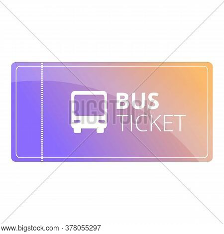 Public Bus Ticket Icon. Cartoon Of Public Bus Ticket Vector Icon For Web Design Isolated On White Ba