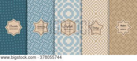 Traditional Ethnic Seamless Pattern Collection. Retro Vintage Geometric Ornament Swatches With Moder