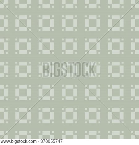 Vector Geometric Seamless Pattern With Small Squares, Floral Shapes, Grid, Tiles. Subtle Abstract Mi